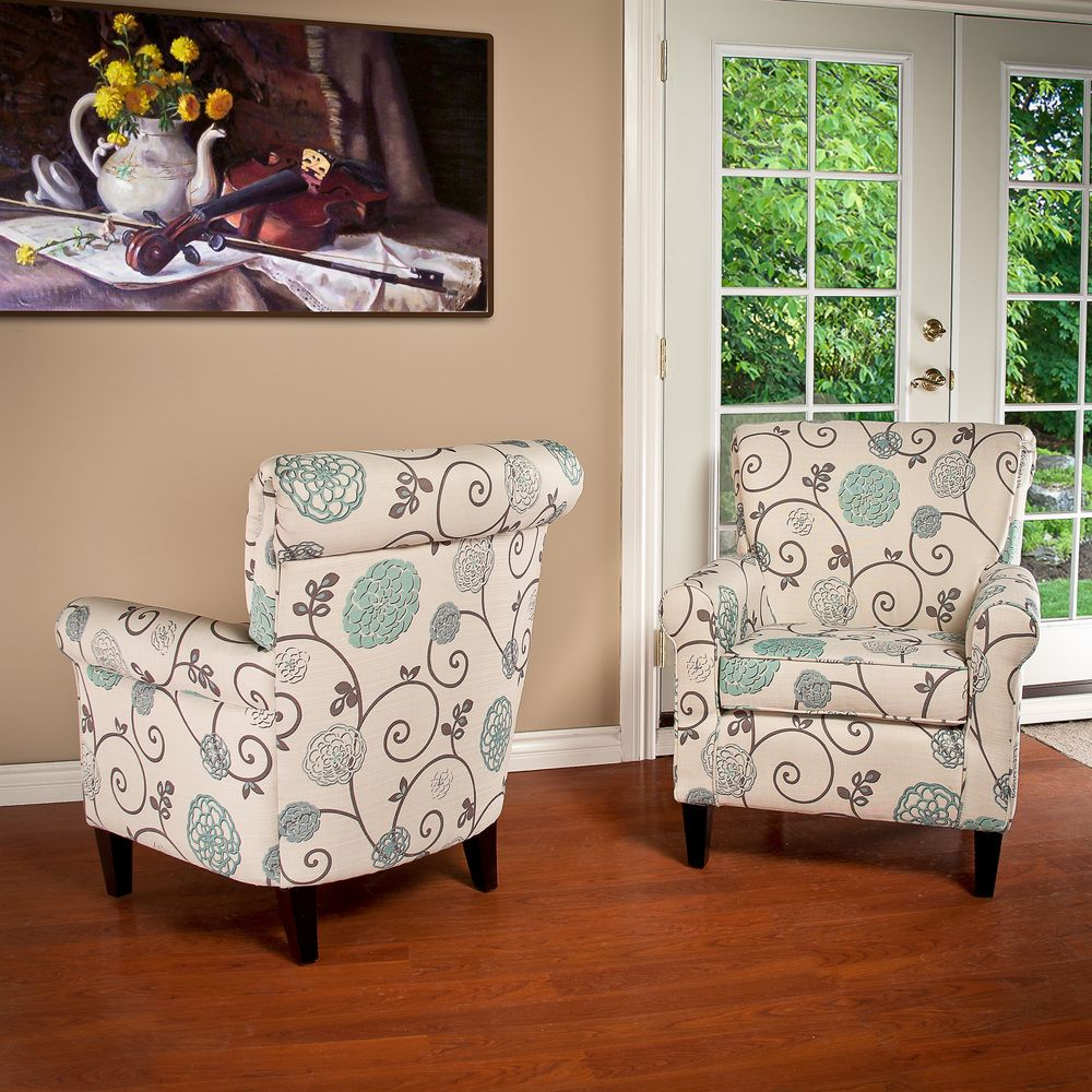 Colby Accent Chair Modern Contemporary Dusk Living Room: Christopher Knight Home Roseville Fabric Floral Club Chair