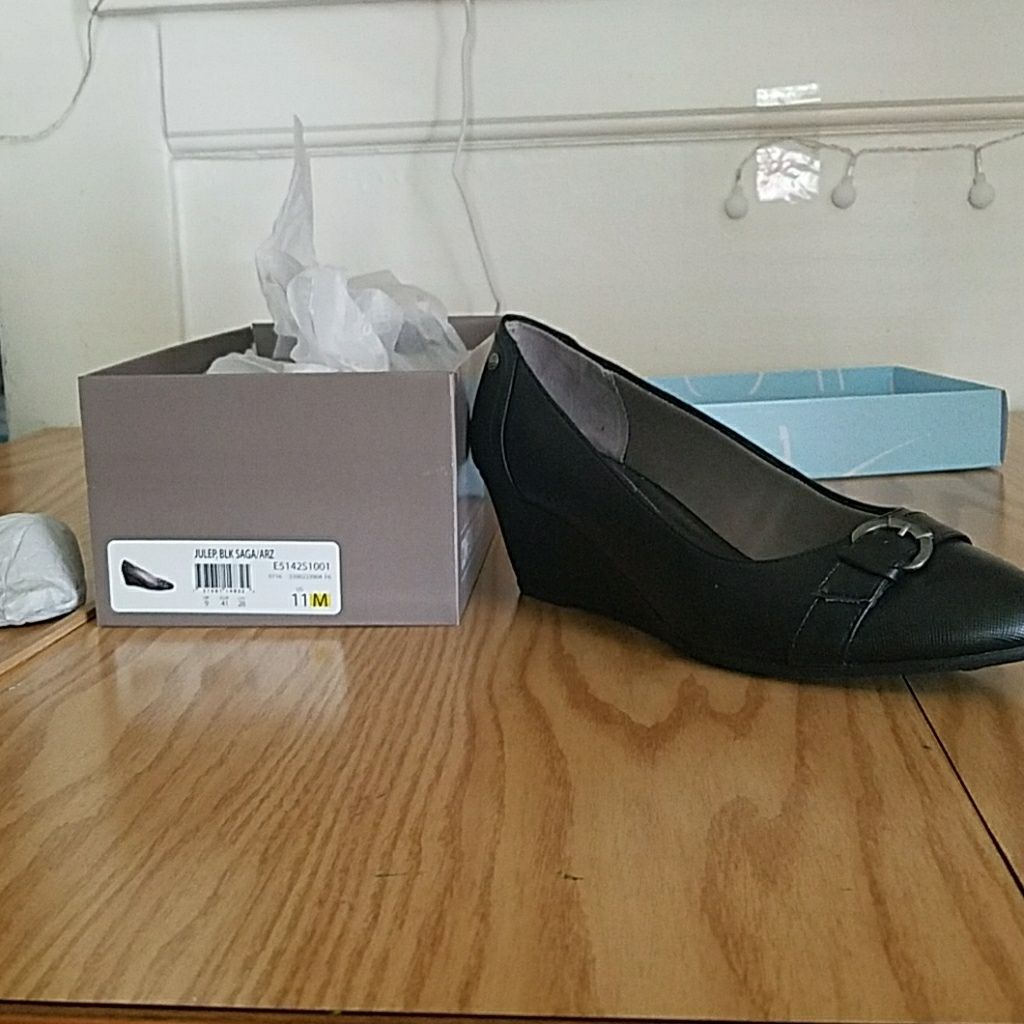 Black Wedge With Buckle Accent - Size 11