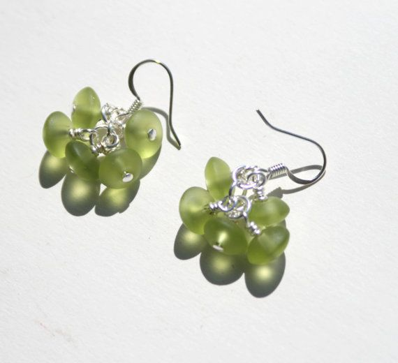 Green Sea Glass Cluster Earrings.  Seaglass.  Beach glass.  Silver.