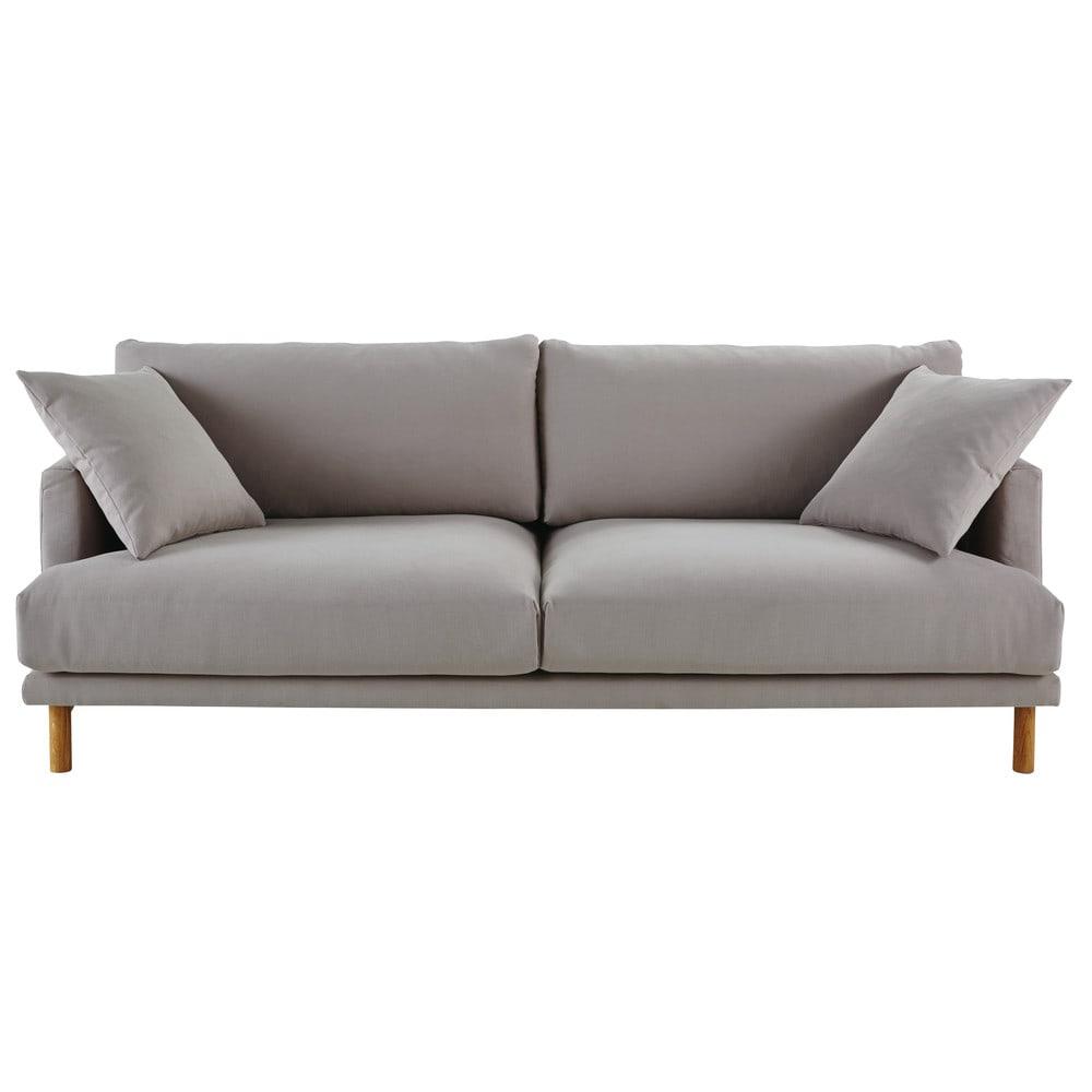 Divano 3 posti in cotone e lino grigio chiaro | Divano, Grigio e ...
