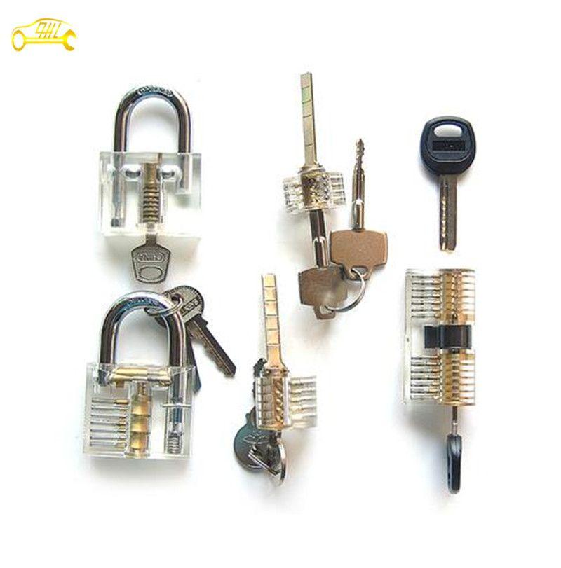Transparent Practice Lock Set 5 Set Transparent Ab Kaba Cross Lock Blade Lock Cutaway Lock Pick Rescue Tools Locksmith Simple Life Hacks