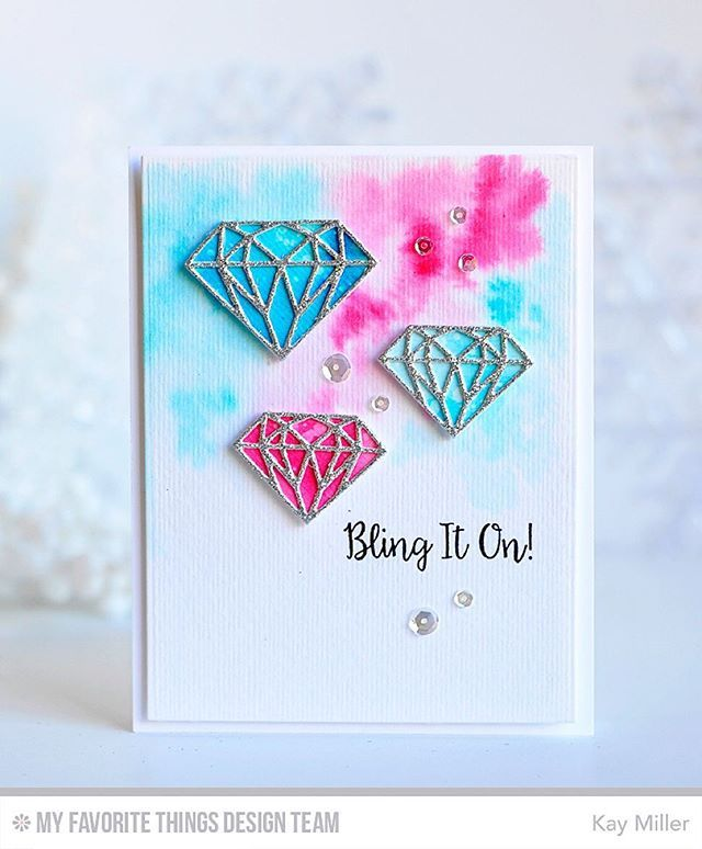 Mft Diamonds Dies Pink And Blue Watercolor Silver Glitter