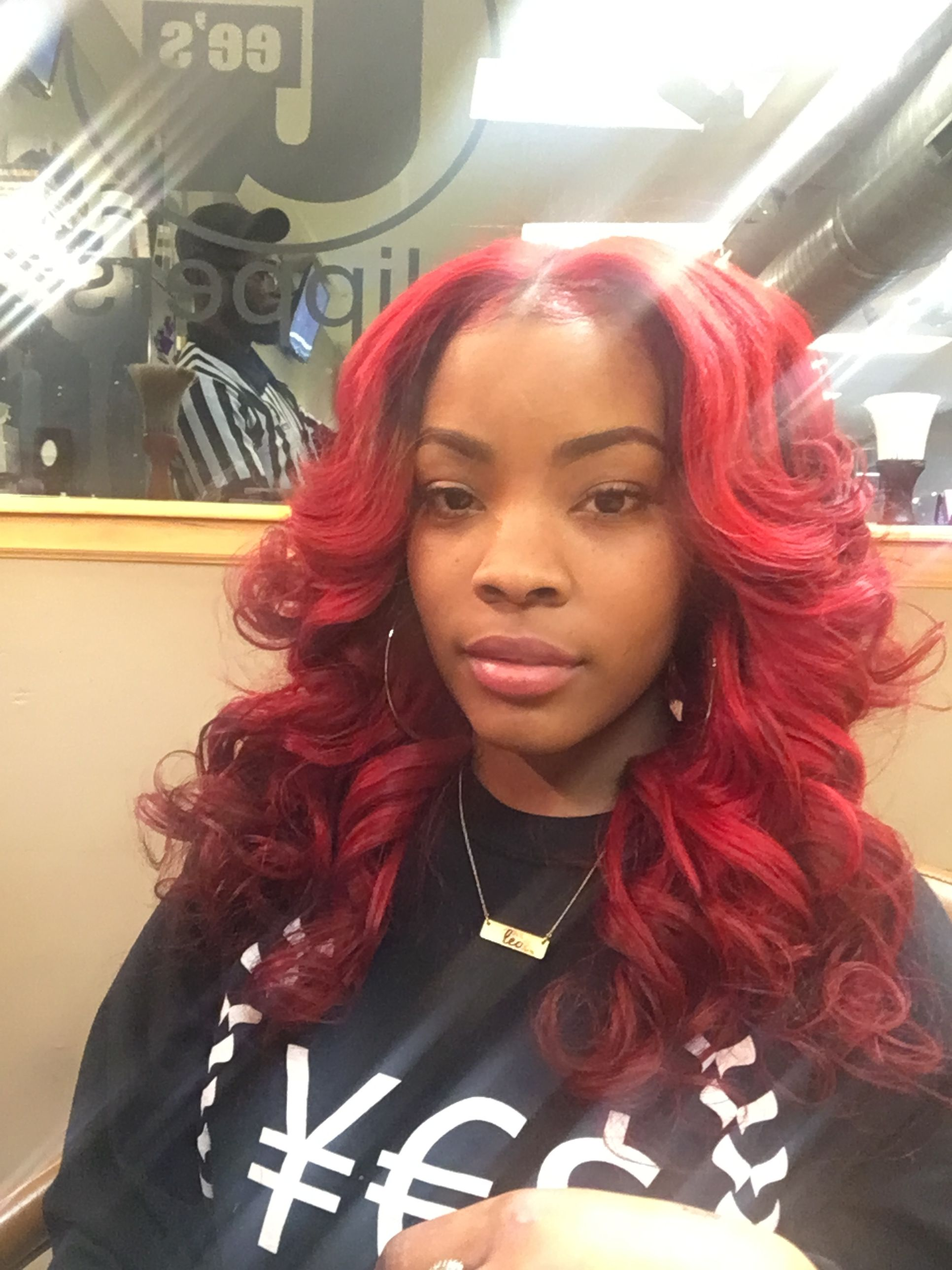 Red Sew In Weave : weave, Head., Middle, Markia, La'Shay, Weave, Hairstyles,, Styles,