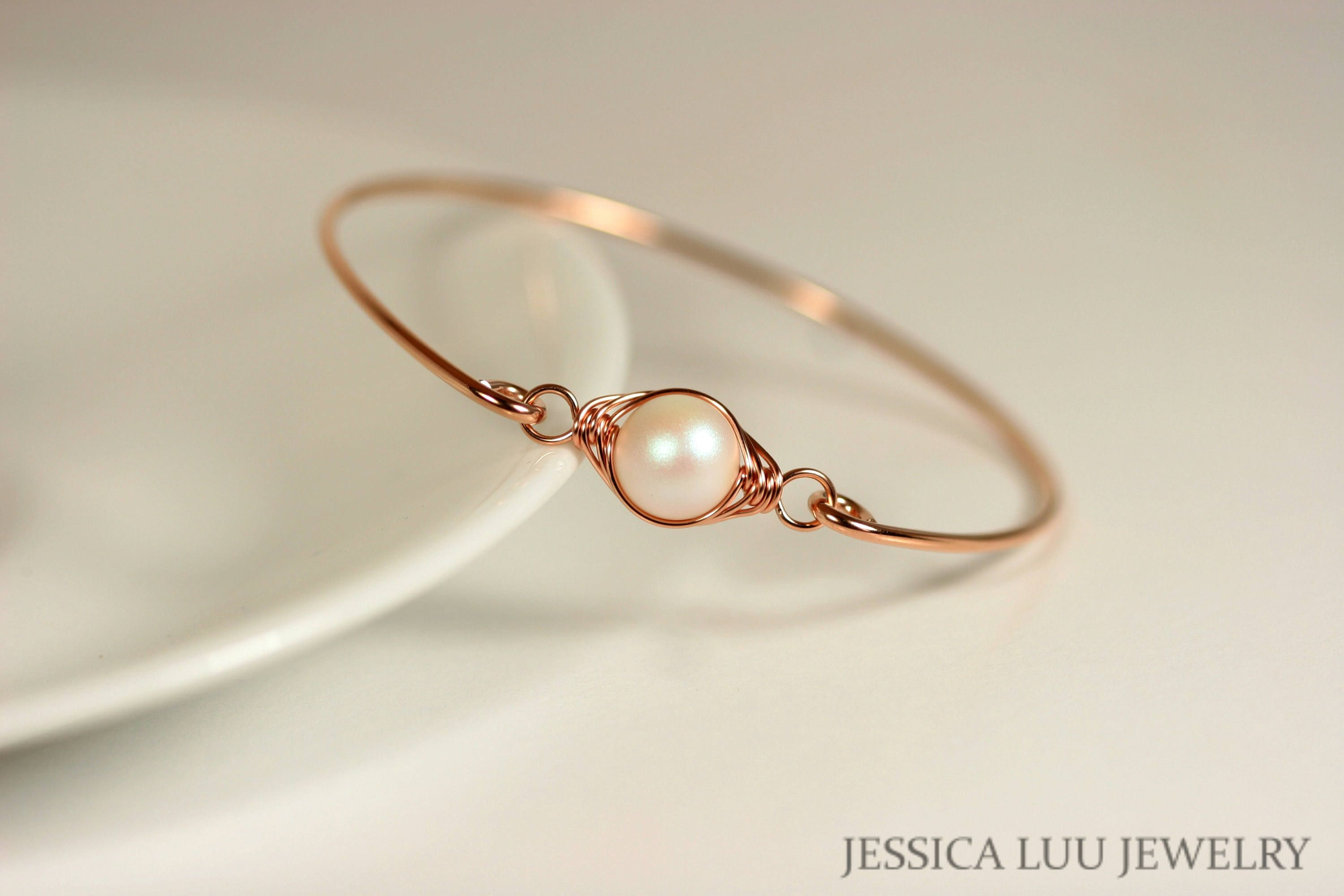 Rose gold mother of pearl bangle bracelet wire wrapped rose gold