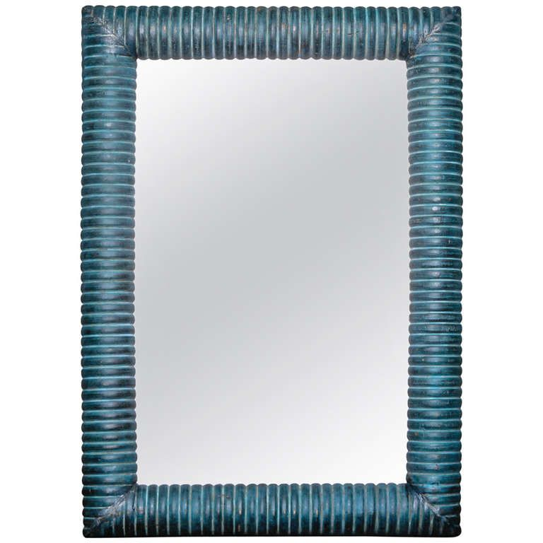 Italian Blue Painted Thick Ridged Wood Frame Mirror | Accessories ...