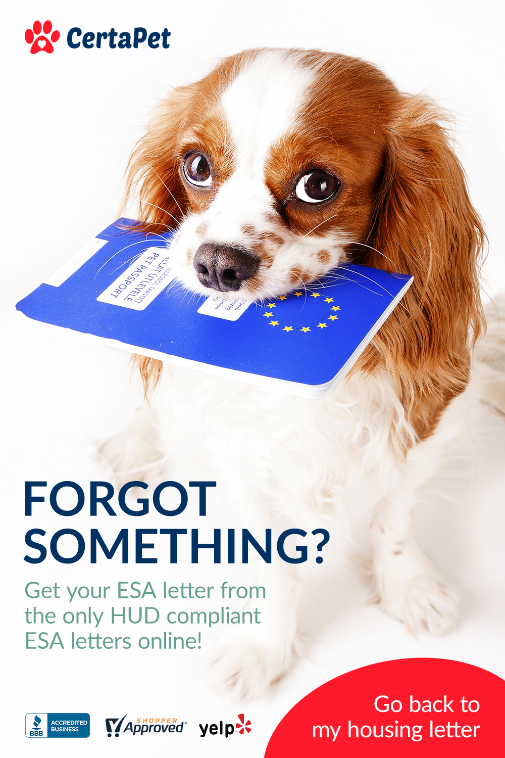 Back! Claim your ESA Housing Letter Today