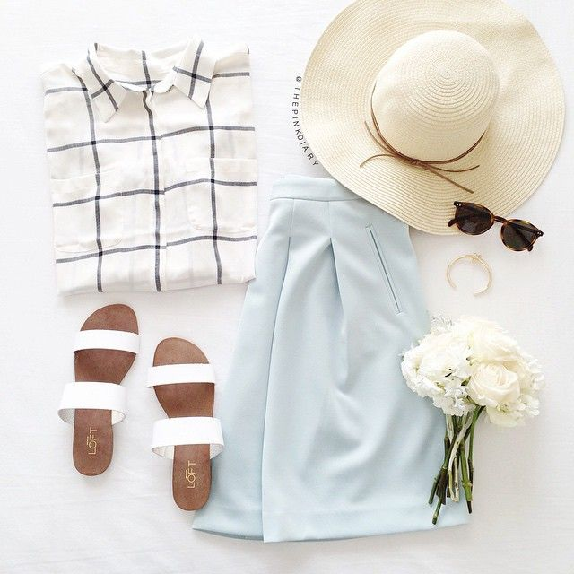 Windowpane blouse and pleated skirt