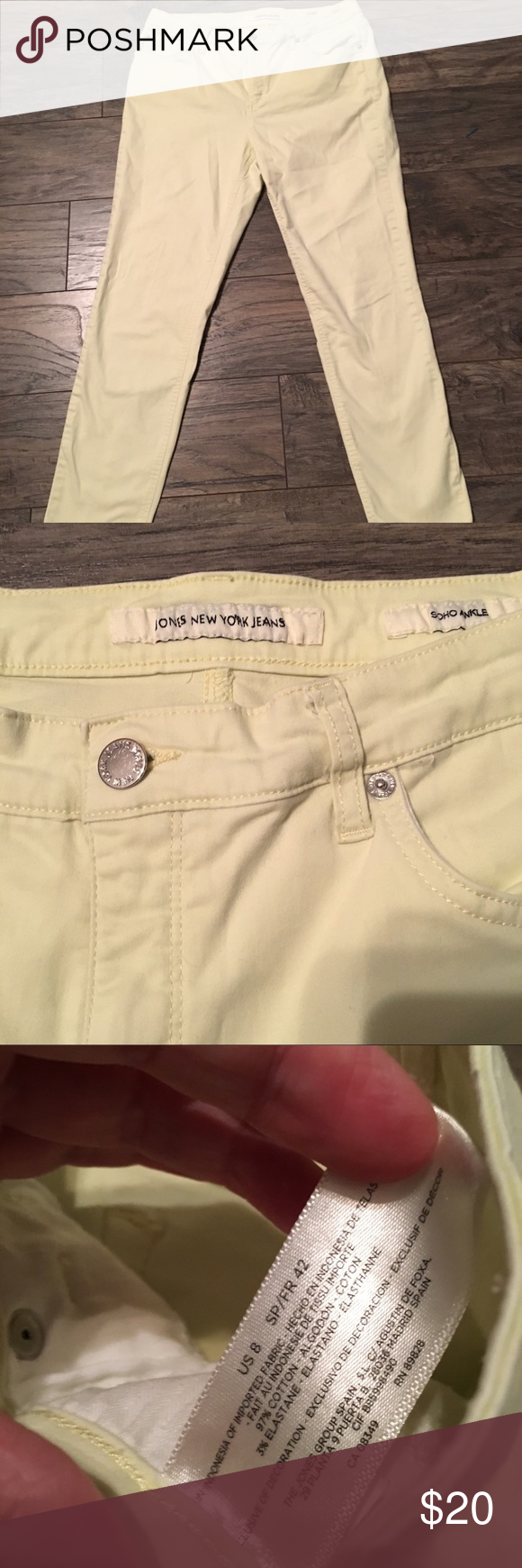 Jones New York Soho Ankle Jeans Pale Yellow Size 8 Jones New York New York Soho Ankle Jeans