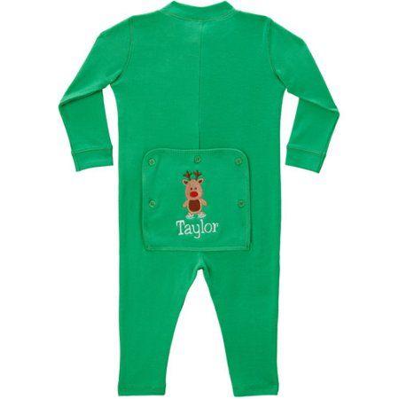 Personalized Premium Skating Reindeer Toddler Long John, Green, Size: 12 Months