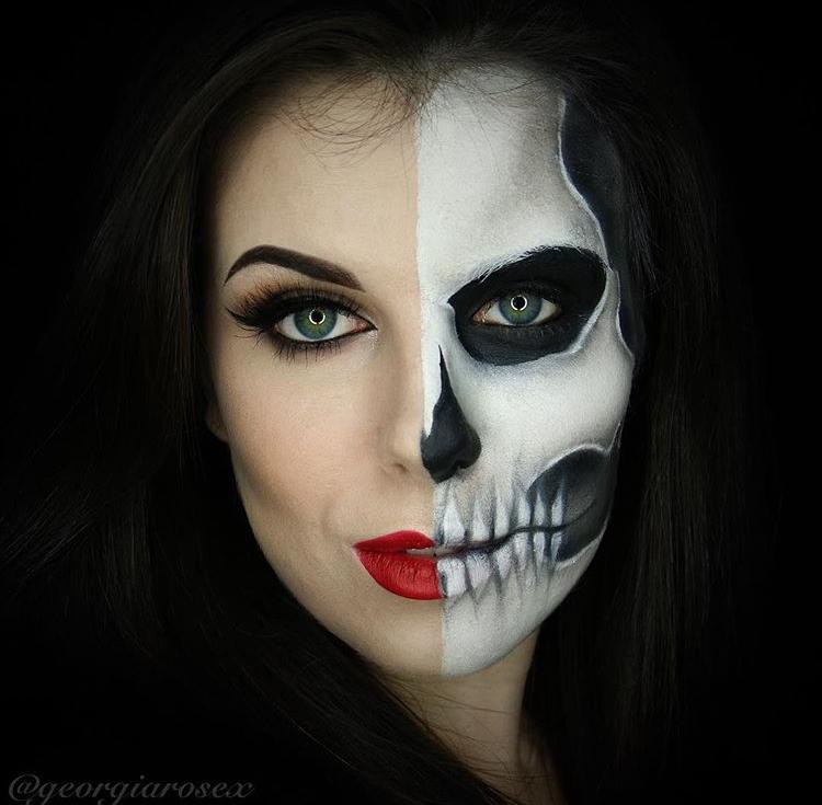 Loving this half glam/skull look from Rose Devine