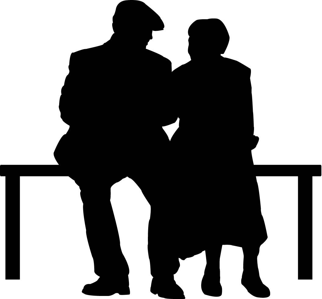 Elderly Couple On Park Bench Silhouette Wall Decals