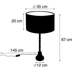 Photo of Art Deco Tischlampe mit Veloursschirm Pfau 35 cm – Pisos Art Deco E27 Innenbeleuchtung QazqaQazqa