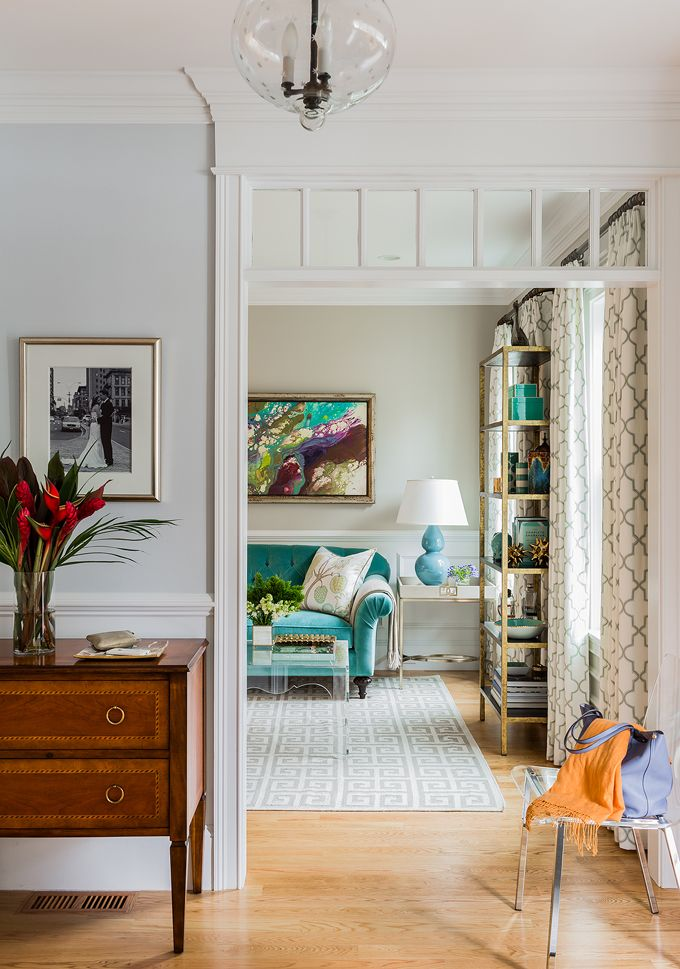 House Of Turquoise: Elizabeth Home Decor And DesignPaint Info (all Benjamin  Moore) Foyer   Bunny Grey Living Room   Revere Pewter Family Room And  Kitchen ...