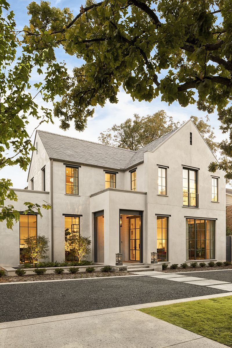 Stunning stucco exterior with steel framed windows such a modern yet classic
