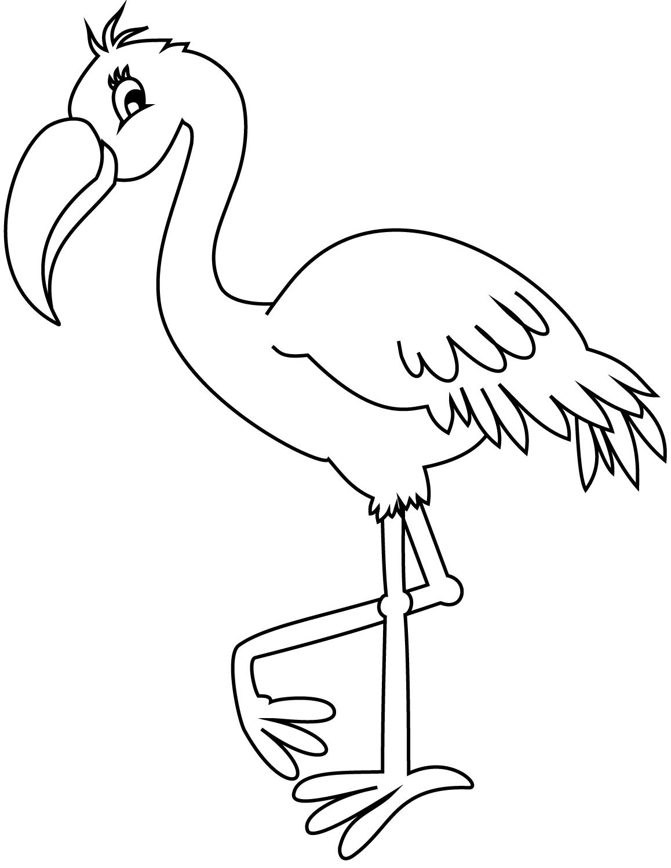 Фламинго раскраска для детей распечатать