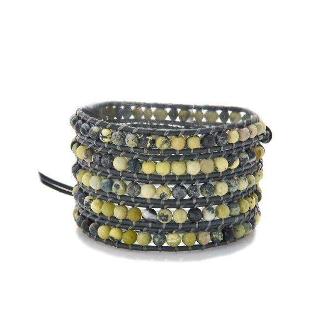 Gold Overlay Yellow Agate Wrap Bracelet