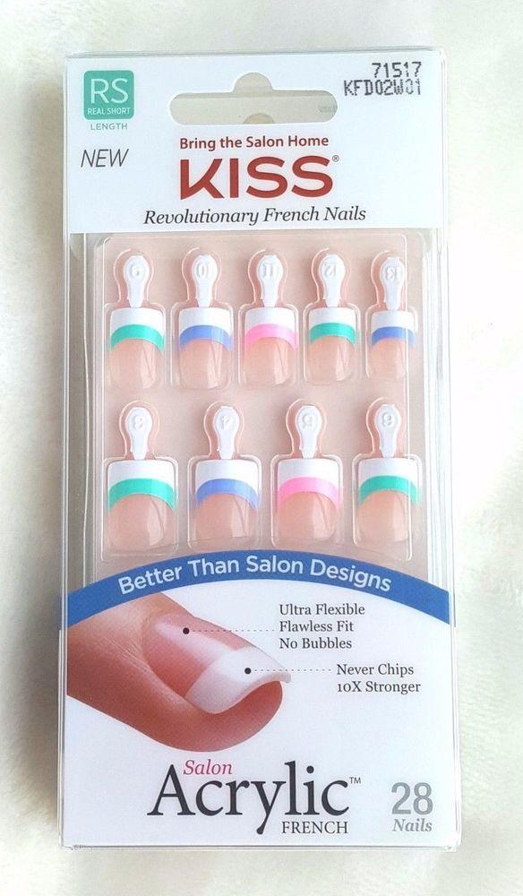 KISS Revolutionary Salon Acrylic French Nail Real Short Length ...