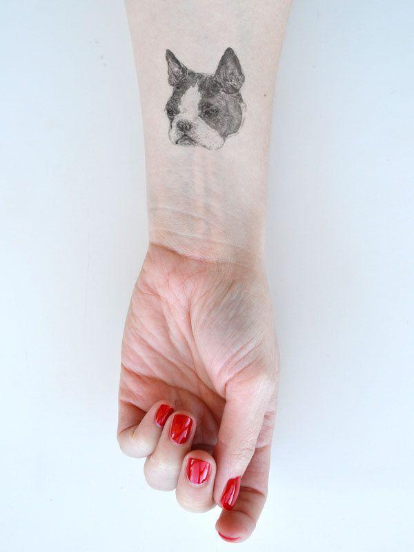 PRE ORDER temporary tattoos - 1 fake dog tatts - puppy tattoo - pug - sausage dog - dalmatian - frenchie - bulldog - spaniel - ONE