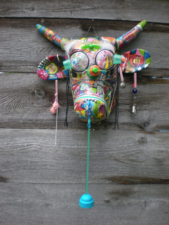Tete De Vache Papier Mache Peinture Acrylique Et Collages Hommage Niki Chaissac De La Boutique Toutenpapiermacheart Sur Etsy Etsy