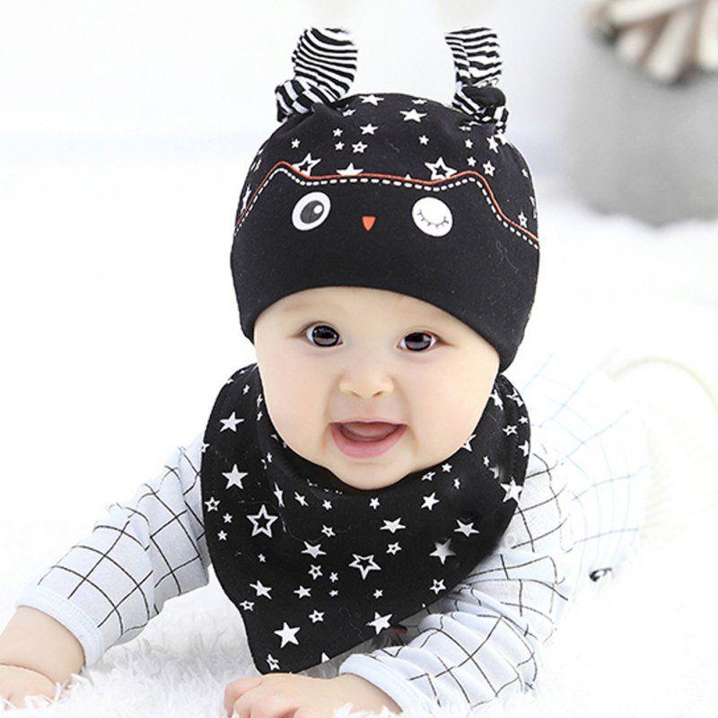 Newborn Baby Girls Boys Cap Sets Spring Owl Pocket Hat + Bibs Set Baby  Sleeping Accessories 6 Colors Cute Character Hats Caps 521d469abca2