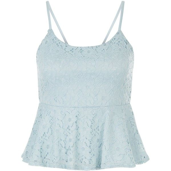 New Look Teens Blue Lace Peplum Top ($17) ❤ liked on Polyvore featuring tops, wedgewood blue, flutter-sleeve top, ruffle top, blue top, blue lace top and spaghetti-strap top