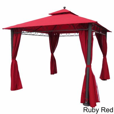 Mercury Row Bordner 10 Ft W X 9 Ft D Metal Portable Gazebo Roof Color Ruby Red Patio Gazebo Gazebo International Caravan