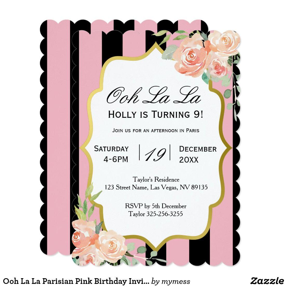 Ooh La La Parisian Pink Birthday Invitation | Birthday bash and ...