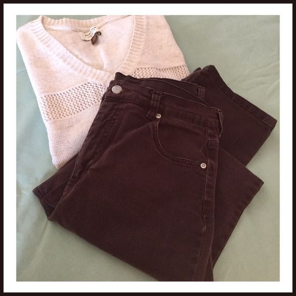 """😊BROWN STRAIGHT LEG😊 Brown straight leg jeans. 30"""" inseam. 3pocket front and 2pocket back. By Sonoma size 12 😊😊 Sonoma Jeans Straight Leg"""