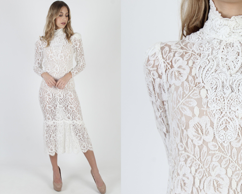 Vintage 80s Ivory Jessica Mcclintock Victorian Dress Plain Etsy See Through Dress Sheer Dress Lace Wedding Dress Vintage [ 2400 x 3000 Pixel ]
