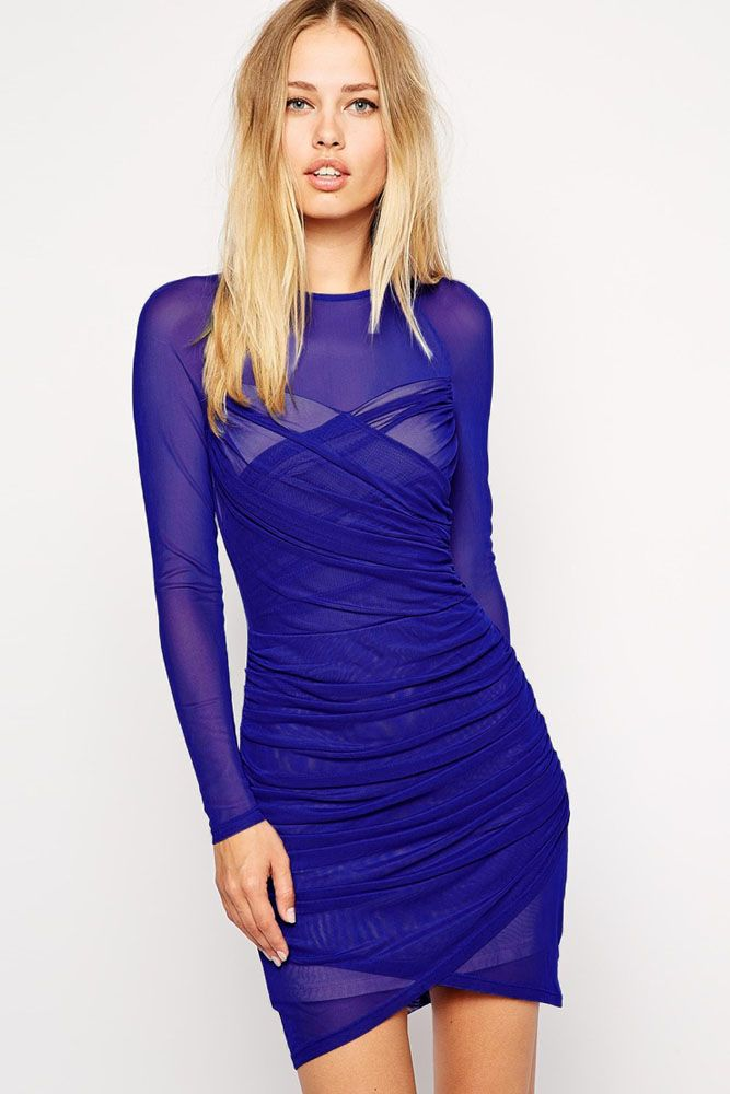 Royal Blue Slinky Wrap Over Mesh Dress