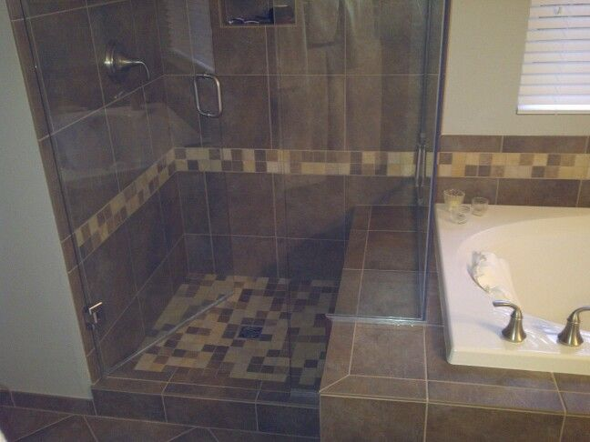 Custom Shower With Nice Contrasting Colors. Used A Portion Of Tub Deck As A  Bench