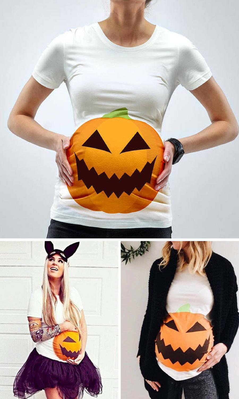 9c83057ec2669 Pumpkin Bump Halloween Maternity BAMBOO T-Shirt #affiliate #pregnant ...