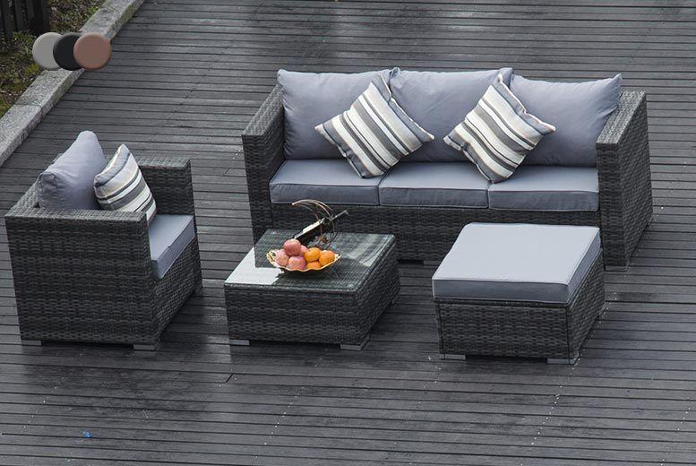 Terrific Dark Grey Rattan Garden Furniture Set With Chair Sofa Alphanode Cool Chair Designs And Ideas Alphanodeonline
