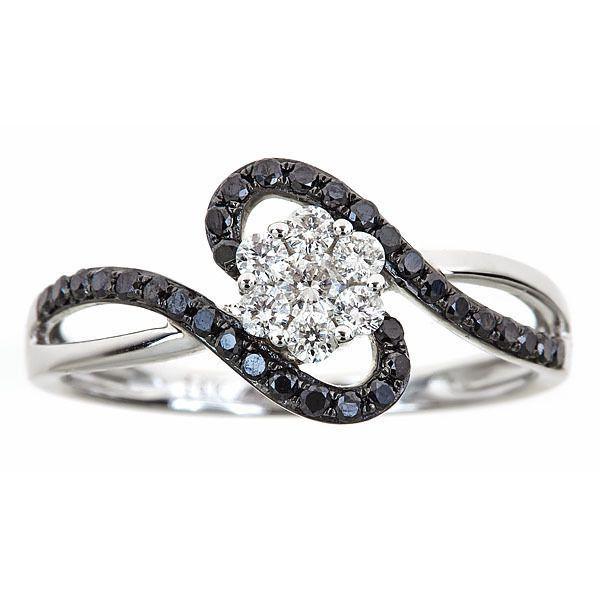 14k White Gold 1/2ct TDW Diamond Round Black and White Diamond Ring (H-I, SI1-SI2) (Size 7.5), Women's, Silver