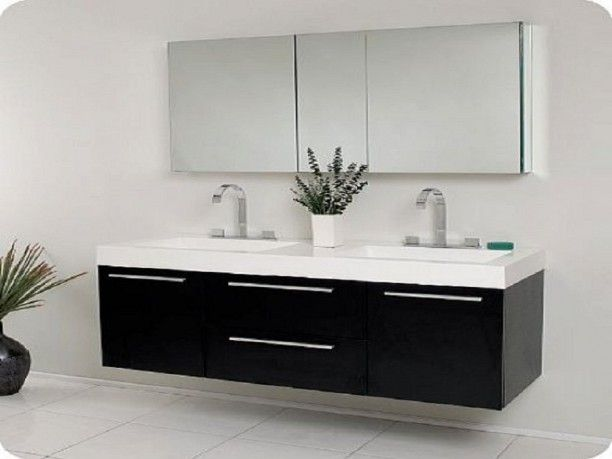 The Functional Bathroom Sink Cabinets Black Modern Double Sink