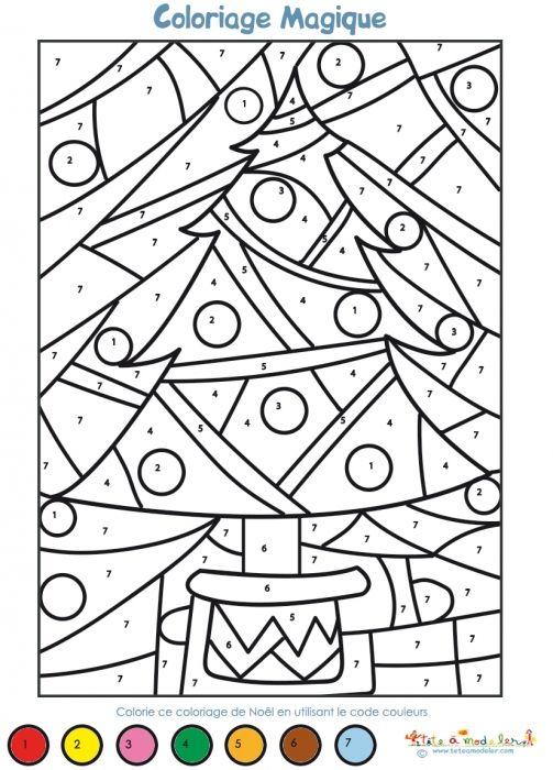 Coloriage magique Noël maternelle   Coloriage magique | Coloriage