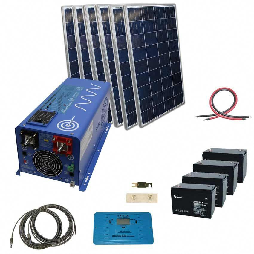 720 Watt Solar With 3000 Watt Pure Sine Power Inverter Charger 24 Vdc 120 Vac Kit Off Grid The Inverter Store Solar Kit Solar Power Panels Solar Panel System