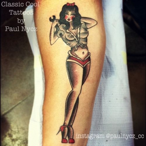 A Classic Cool Mechanic Pin Up By Paul Nycz Iron Heart Des Moines