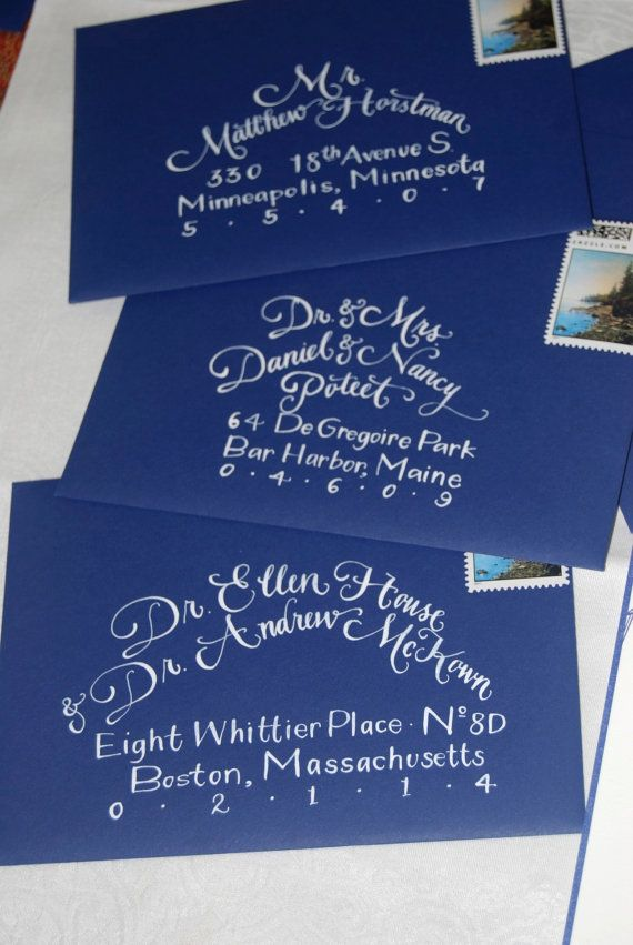 Calligraphy for wedding invitation envelopes.   My Daughter, Kaity ...