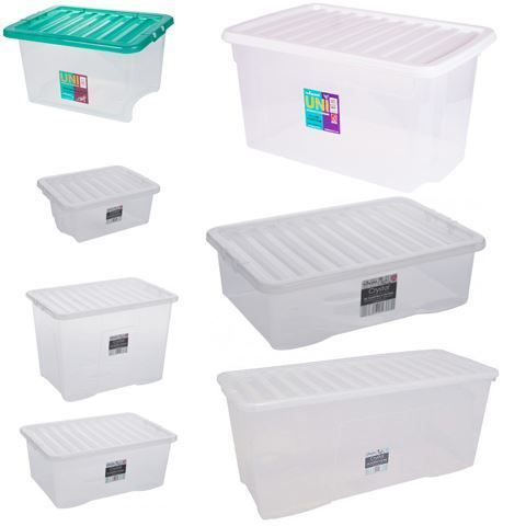 Home office storage boxes large clear plastic containers Clear