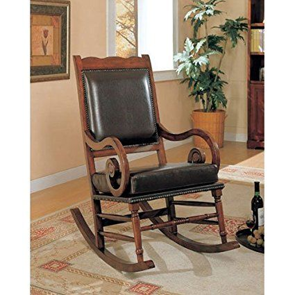 Coaster Traditional Rocking Chair Nailhead Trim Style Bycast