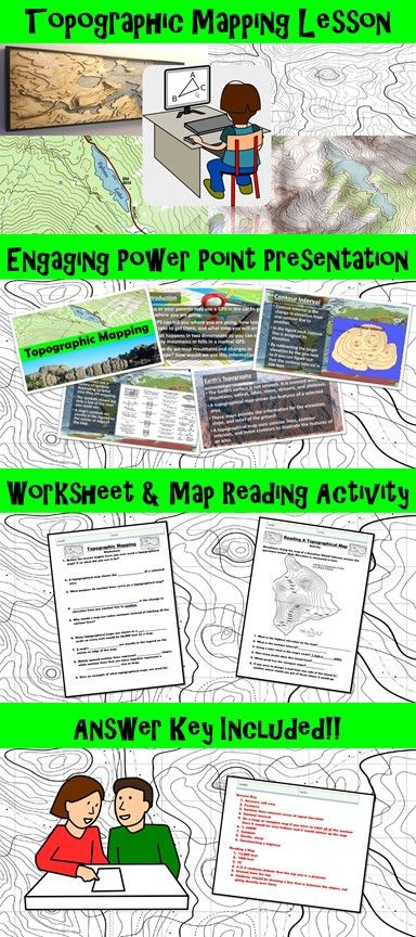 topographic mapping lesson with worksheet power point and map