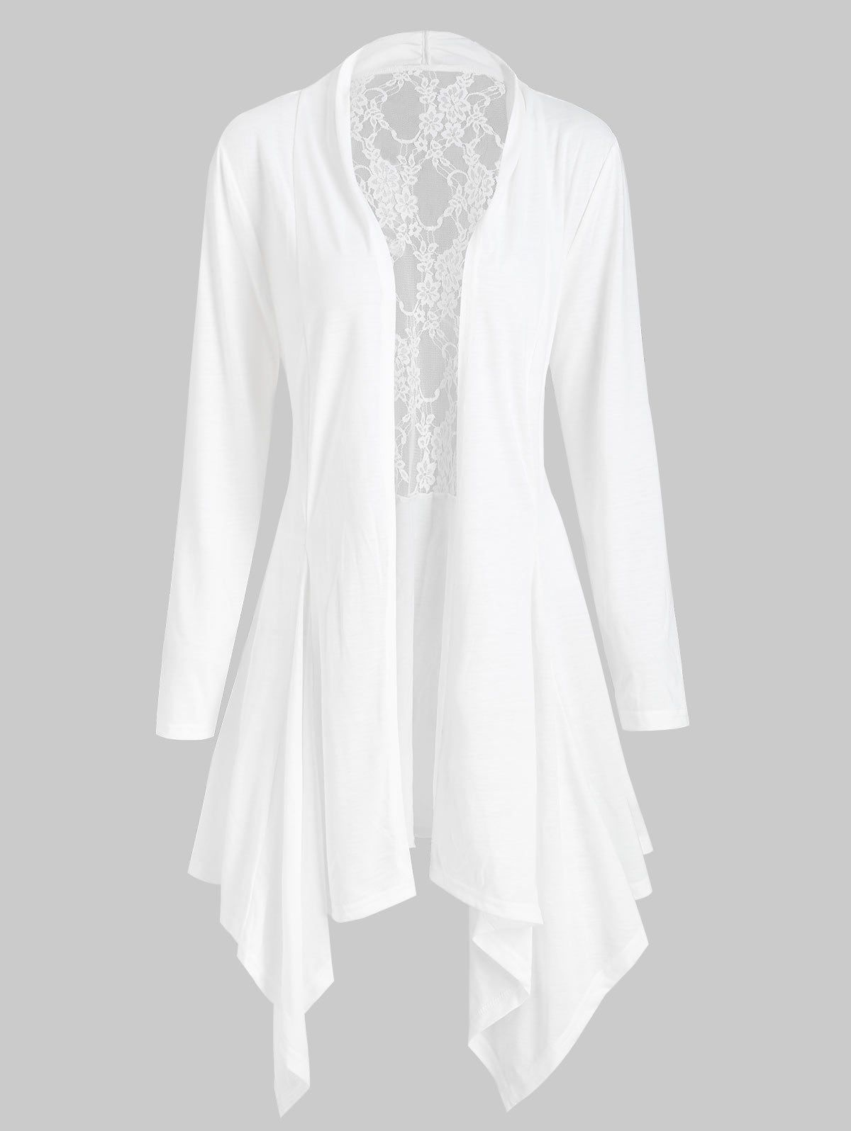 Handkerchief Lace Panel Open Front Plus Size Cardigan | Lacer