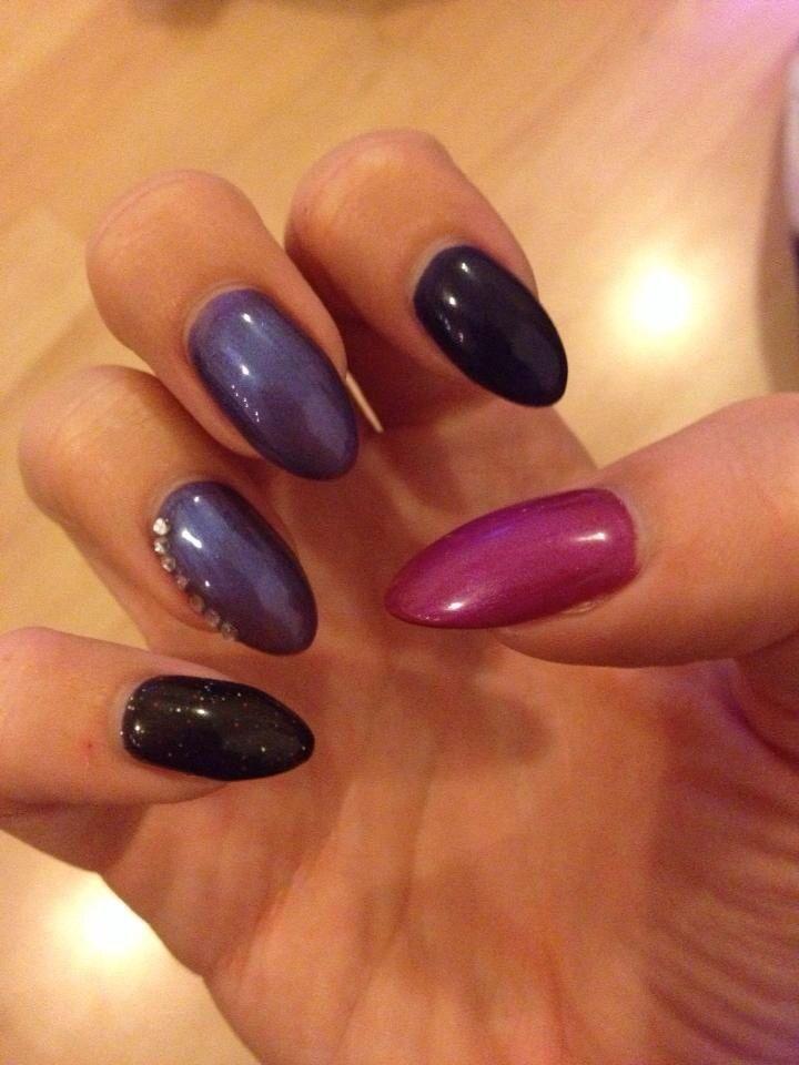 Black oval nail design : Oval black purple lcn gel nail design nails