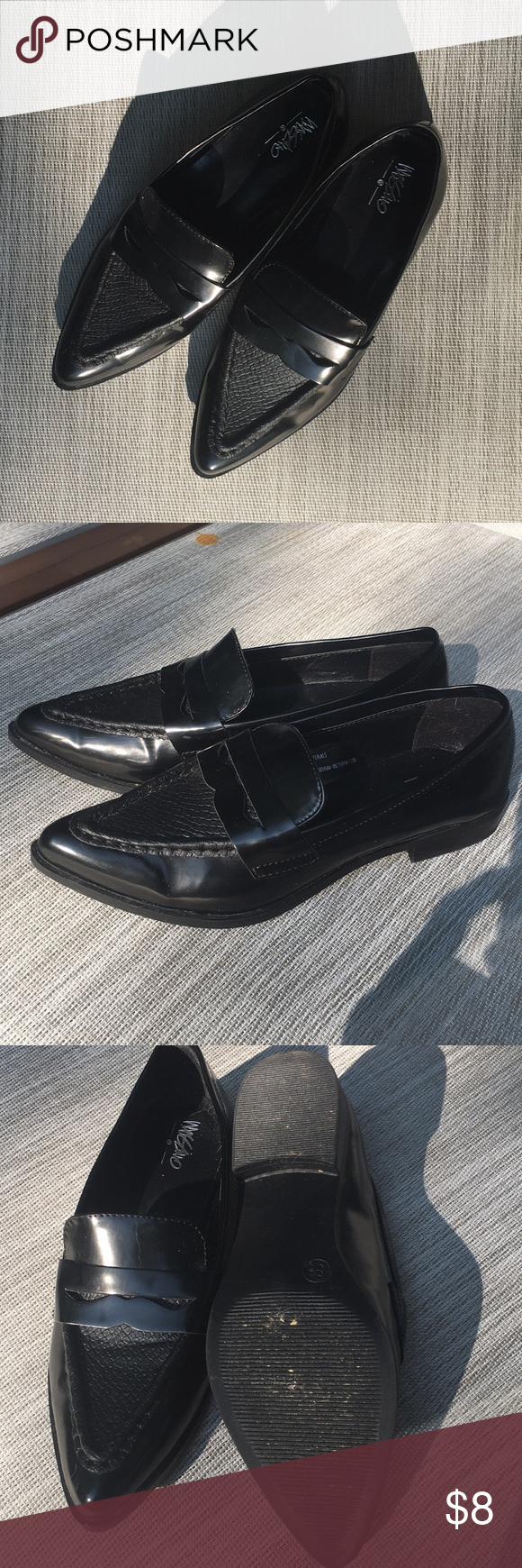 5f5fc21e286 Shiny black loafers Black penny loafers. Man made materials Mossimo Supply  Co. Shoes Flats   Loafers