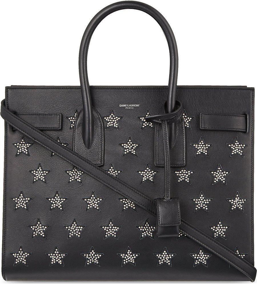 SAINT LAURENT Studded leather tote bag (Black/multi
