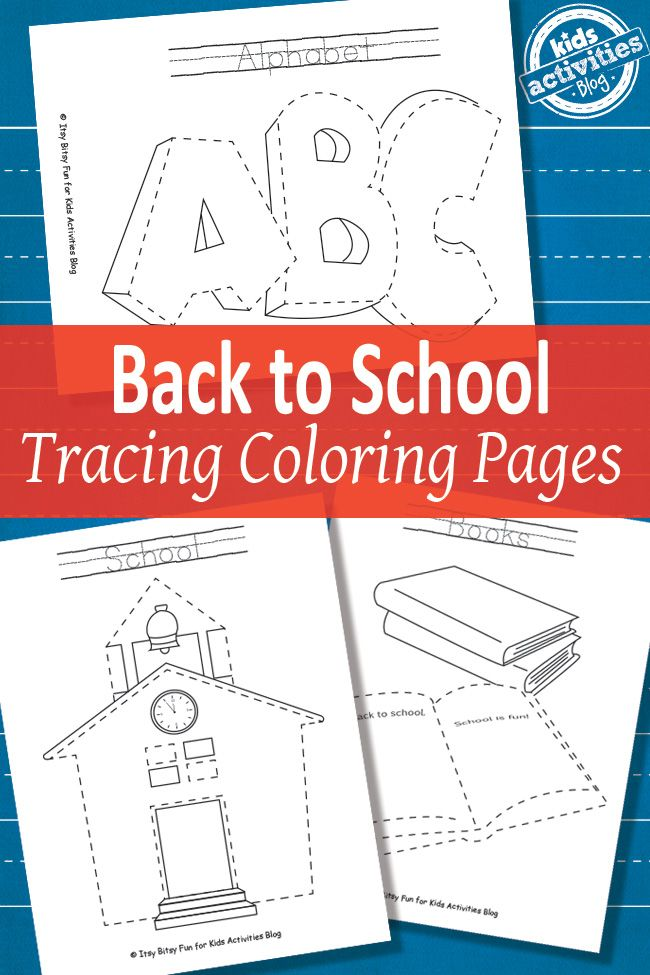 Back to School Tracing Coloring Pages {Free Printable} | Colorante ...