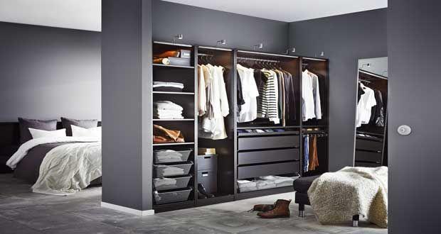 Un Dressing Pas Cher En Bois Peint En Noir Dressing Chambre Dressing Ikea Amenagement Dressing