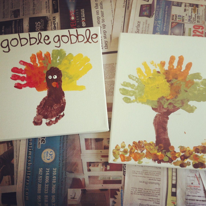 Toddler Handprint Footprint Art Thanksgiving Fall Canvas Turkey And Tree