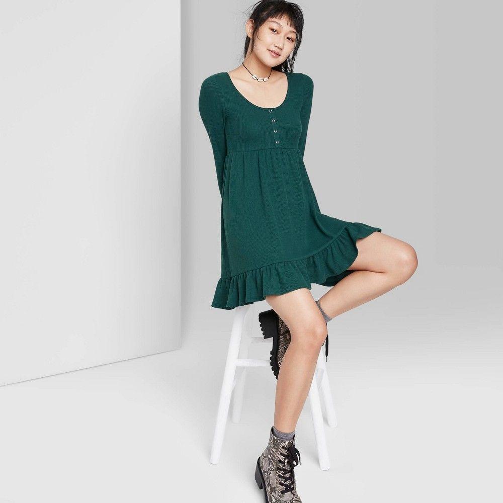Women S Long Sleeve Waffle Knit Babydoll Dress Wild Fable Green Xl Long Sleeve Babydoll Dress Babydoll Dress Women Long Sleeve [ 1000 x 1000 Pixel ]